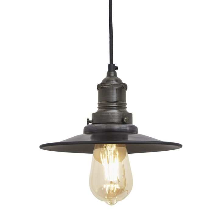 Brooklyn antique flat industrial pendant light dark pewter 8 inch