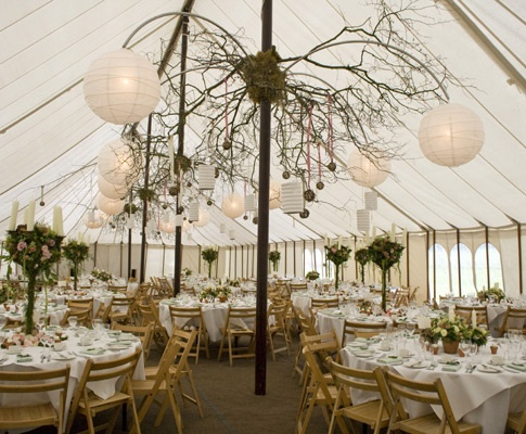 lanterns in marquees....cool party idea