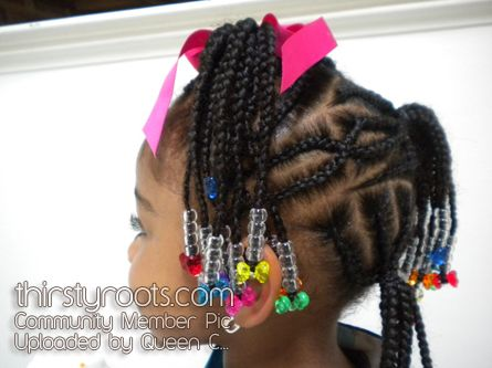 . LITTLE GIRL HAIRSTYLES / BRAIDS / PROTECTIVE HAIRSTYLE / HAIRSTYLES / KIDS / BOW  / CORNROLLS / HAIRDO / UPDO / GIRL / TWIST HAIRSTYLE / NATURAL HAIRSTYLE / BEADS / AFRICAN AMERICAN HAIR