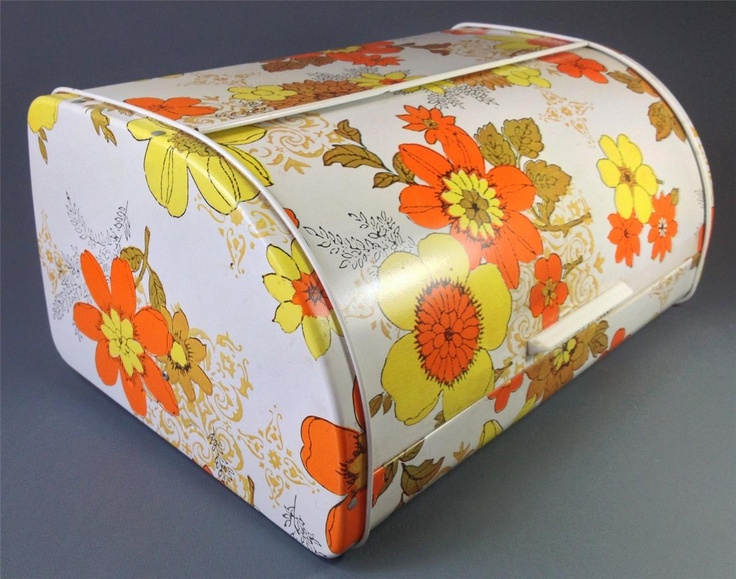 Vintage/retro 60s-70s psychedelic metal bread bin orange/yellow -kitchenalia