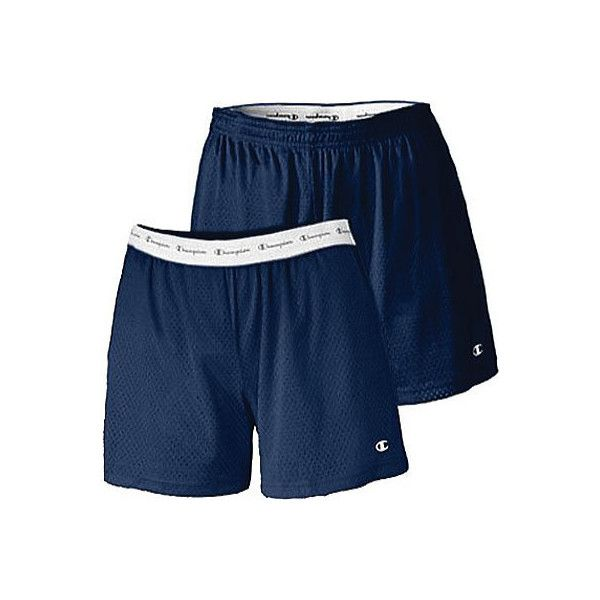 """Women's Champion Active 5"""" Mesh Shorts (2 Pairs) - Navy Gym Shorts ($36) ❤ liked on Polyvore featuring activewear, activewear shorts, blue, champion sportswear and champion activewear"""