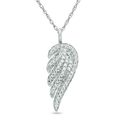 Zales Jewelry Necklaces >> 1/3 CT. T.W. Diamond Single Wing Pendant in 14K White Gold - View All Necklaces - Zales ...