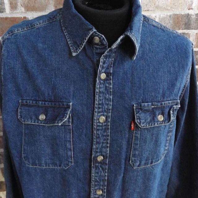Mens Levis Denim XL Shirt Jeans Button Down Front Western Work Blue Long Sleeve
