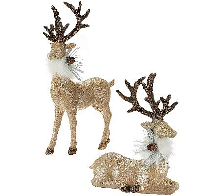 Invite this posh pair into your holiday home. These glamorous reindeer figurines sparkle with glittered accents and are decked out in beautiful faux fur collars. QVC.com