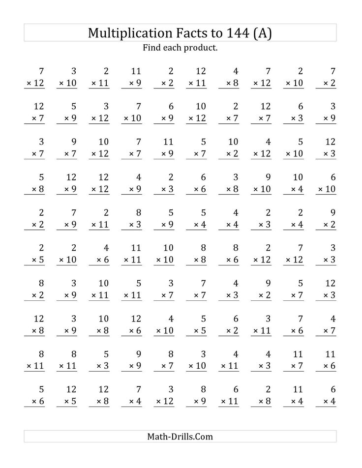 7 best Math images on Pinterest Maths, Math facts and - horizontal multiplication facts worksheets