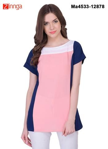 MAYLOZ E-COMMERCE-Women's Stylish  Peach  Color Georgette Top