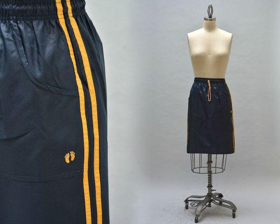 80er Jahre hängen zehn Skirt - Jahrgang dunkelblaue und gelbe Streifen sportliche Seitenschweller Fronttaschen Seite Schlitze Surf Kleidung Hawaii Kleidung Skate tragen