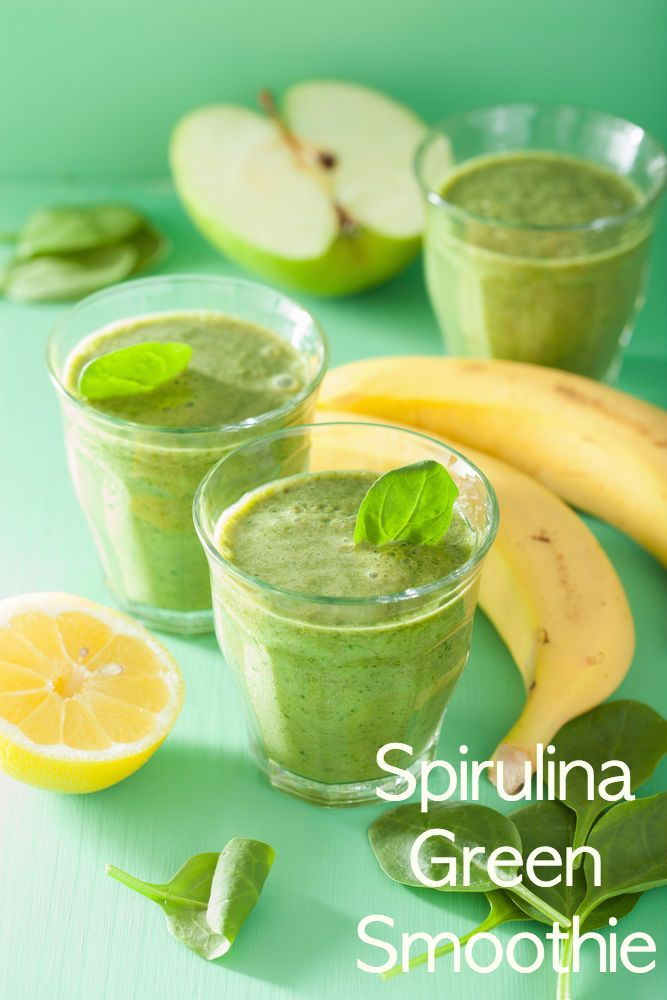 Spirulina Green Smoothie: 1tbsp of spirulina. 1 banana. 2 cups of spinach. 3 cups of crushed ice. Juice of 2 lemons. 13 oz apple juice.   Spirulina may help reduce anxiety and depression. It nourishes the nervous system and psychological function.