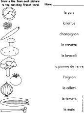 french worksheets - matching