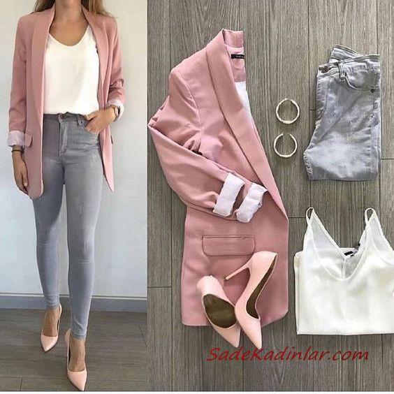Combinación de pantalones grises Pantalones ajustados grises Blusa blanca Abrigo largo rosado Tops rosados   – style
