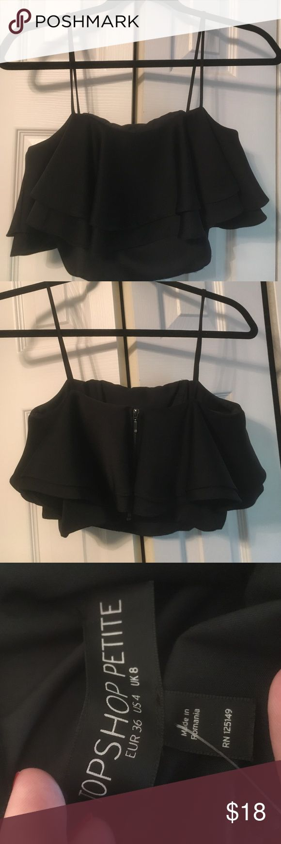 NWT TOPSHOP CROP TOP This petite crop top is super cute and unique! I bought it on sale for $35. It's a size 4. Let me know if you have any questions :) Topshop PETITE Tops Crop Tops