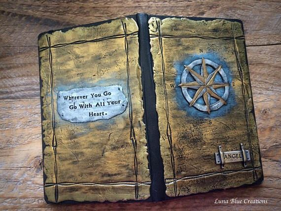 Personalized Travel Journal Compass Journal Polymer Clay