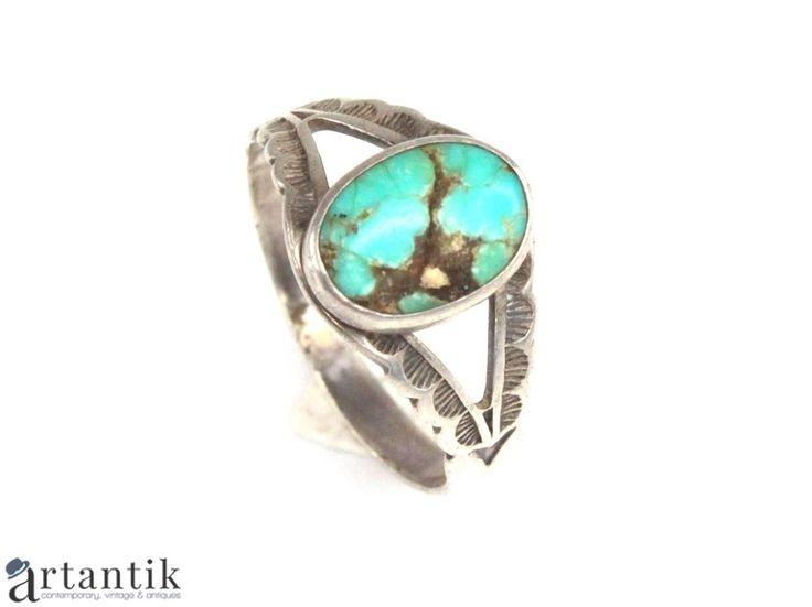 Vechi inel Navajo, argint si turcoaz natural