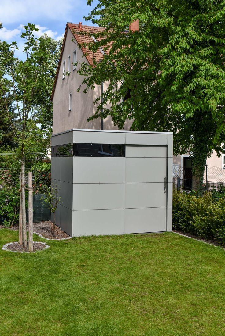 Gerätehaus von designgarten in Mainz. HPLFassade