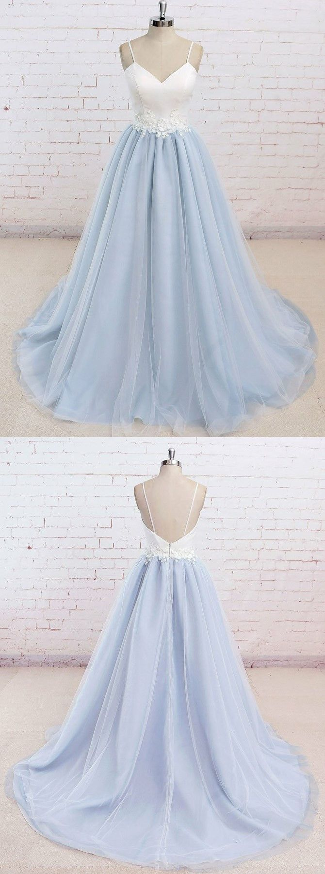 chic baby blue prom party dresses with train, fashion backless evening gowns, simple elegant gowns.