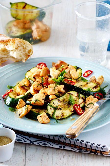Hähnchenfilet auf Zucchinisalat
