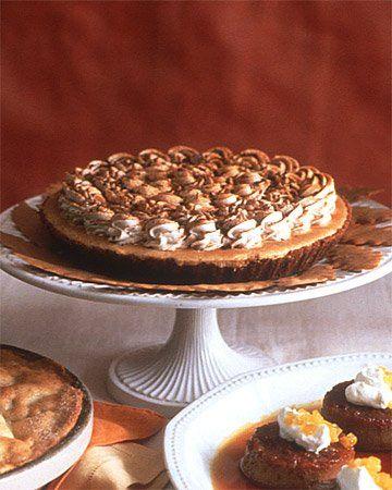 Pumpkin-Mousse Pie ~ Chocolate-cinnamon graham-cracker crust supports ...