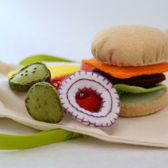 Felt Food Deluxe Hamburger Children's Play Food by FeltFarmMarket