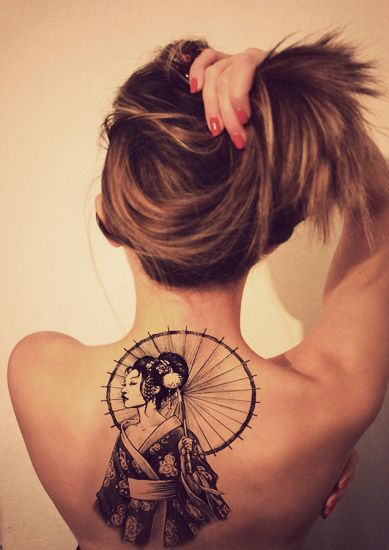 Geisha back tattoo -