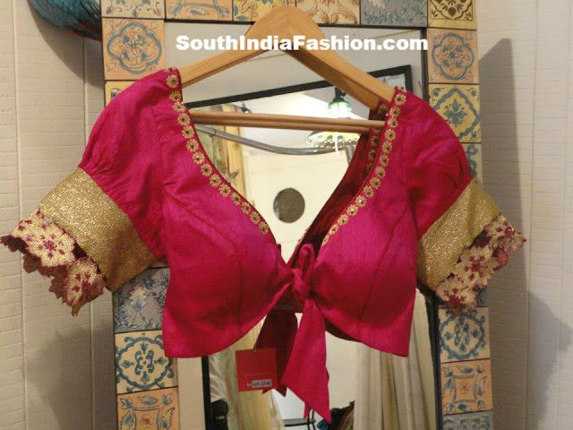 Stylish Puff Sleeves Saree Blouse Designs ~ Celebrity Sarees, Designer Sarees, Bridal Sarees, Latest Blouse Designs 2014