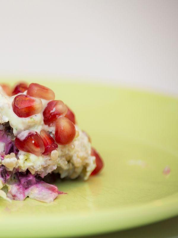 Rote Bete Salat mit Buchweizen Schichtsalat mit Kabeljaufilet - Deutsche Rezepte