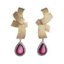 Crimson Samurai Sword Earrings - Gold with Pear Drop Cubic Zirconia