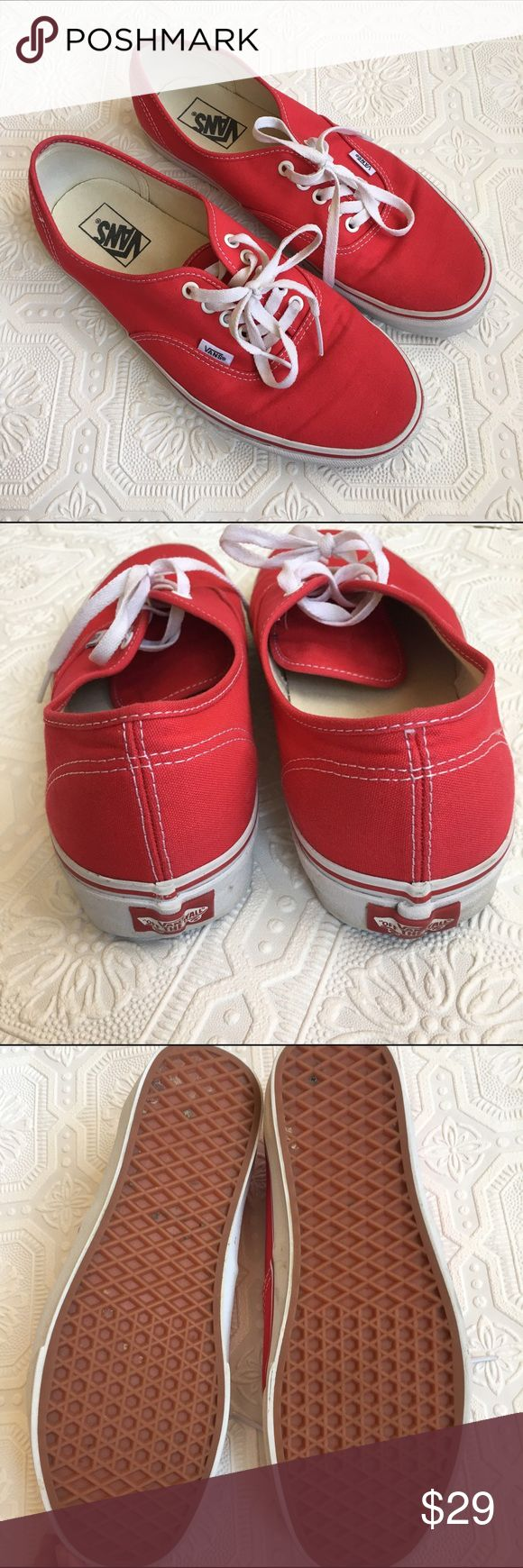 Men's Red Vans Shoes Gently used. Red canvas Vans sneakers with Vans' signature rubber waffle outsoles. Vans Shoes Sneakers