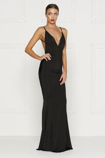 black backless dress with a plunging neckline in a stretch fabric. Fitted  formal dress prom 243f0cc52