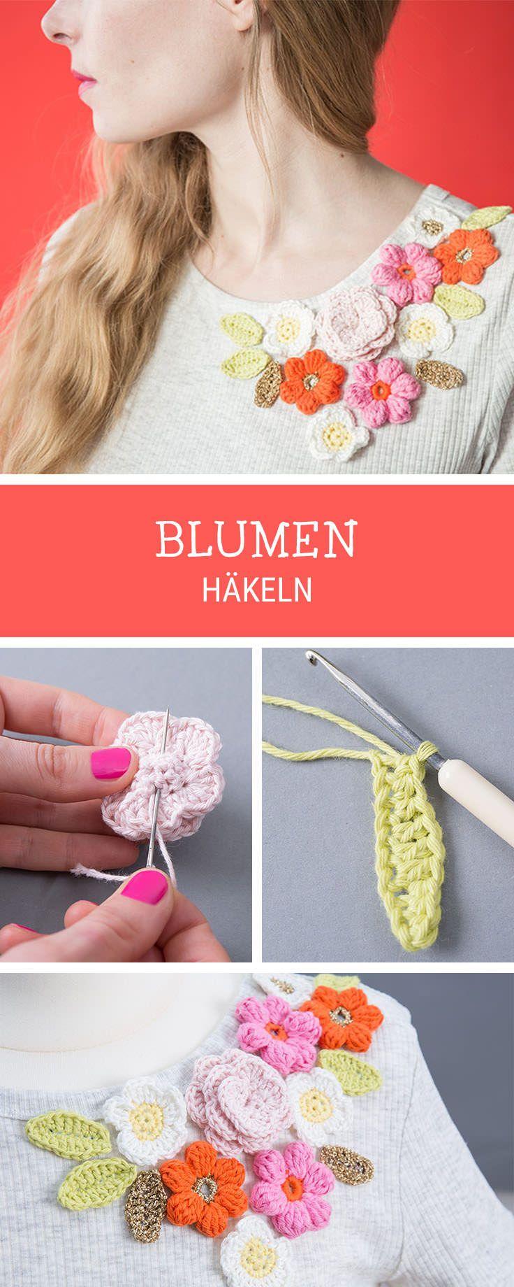 Häkelanleitung für zarte Blumen als Deko für Shirts, Blumen häkeln / diy crochet tutorial for flowers and blossoms via DaWanda.com