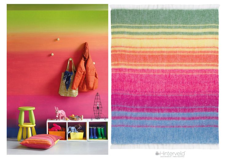 Hinterveld's  -  All the Earth throw was inspired by a wall painted with Plascon paint for the Spaces magazine Issue 14,  2014,