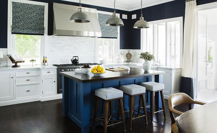 Contemporary White And Blue Kitchen Features Three Galvanized Metal Pendants Illuminating A Blue