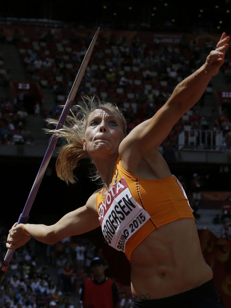 Nadine Broersen of the Netherlands competes in the women's javelin throw heptathlon at the World Athletics Championships at the Bird's Nest stadium in Beijing.  Lee Jin-man, AP