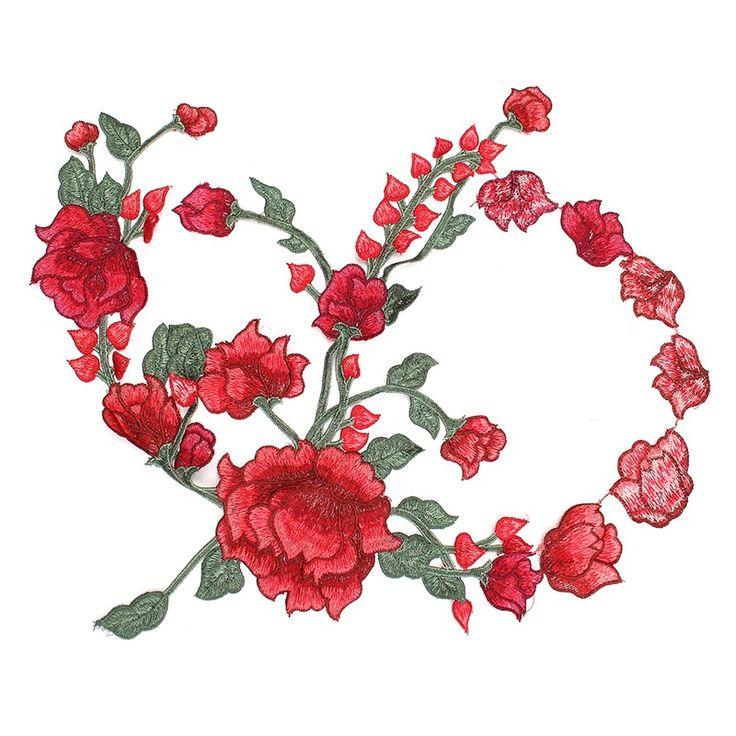 Роза цветы вышивка пришить патч значки вышитые ткани аппликация декор для одежды cheongsam платье diy аксессуары подарок купить на AliExpress