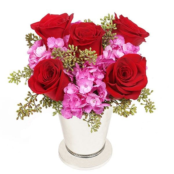 5 deep red roses appear through a pink cloud of beautiful hydrangeas, in a background of green seeded eucalyptus. Marquise - Roses Hydrangeas - Flower Delivery NYC - plantshed.com