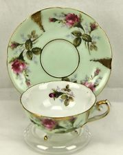 Vintage Robin Blue & Gold Pink Roses Rosebud Footed Teacup & Saucer Japan?