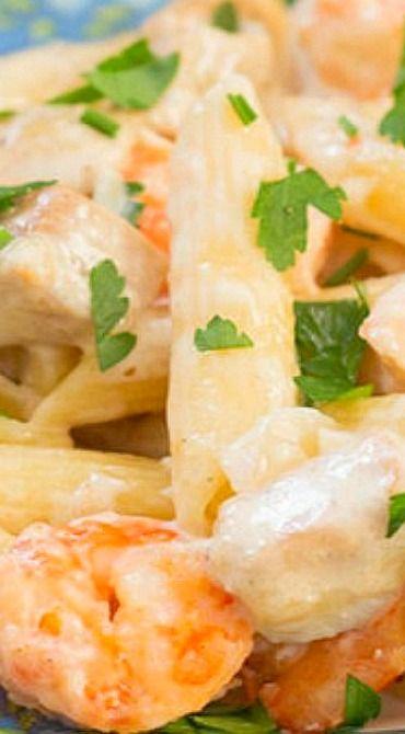 Chicken and Shrimp Alfredo Pasta