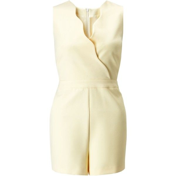 Miss Selfridge Petites Lemon Scallop Playsuit ($71) ❤ liked on Polyvore featuring jumpsuits, rompers, lemon, petite, women, miss selfridge, playsuit romper, sleeveless rompers and sleeveless romper