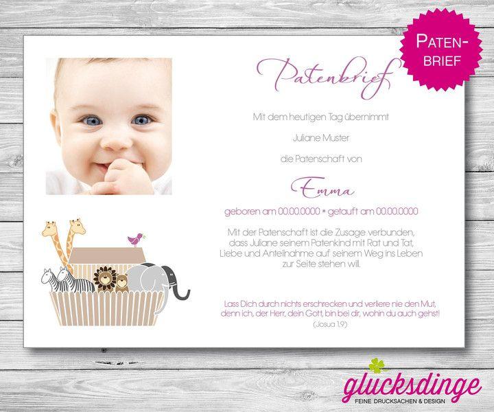 ♥ PATENBRIEF ♥ Arche zur Taufe I Flieder von j-designerie - FEINE DRUCKSACHEN auf DaWanda.com