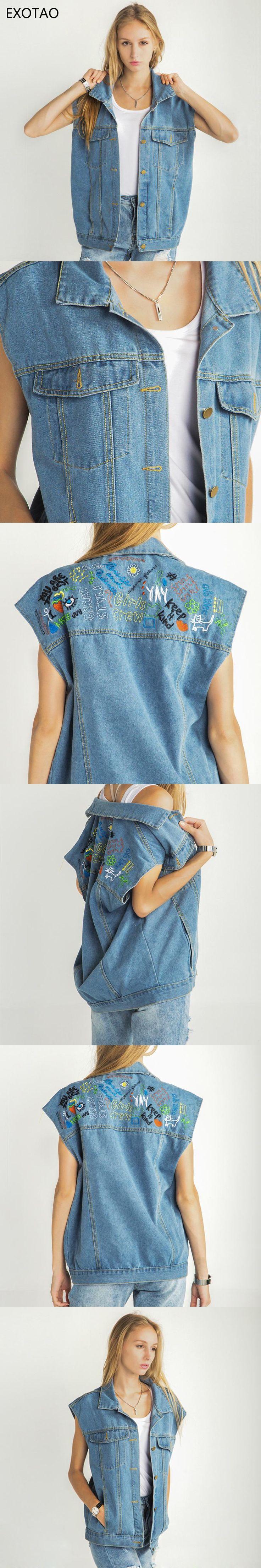 EXOTAO Women Waistcoat Jeans Embroidery Sleeveless Denim Jackets Casual Single Breasted Outwear Loose Ladies Vest Jacket 2017