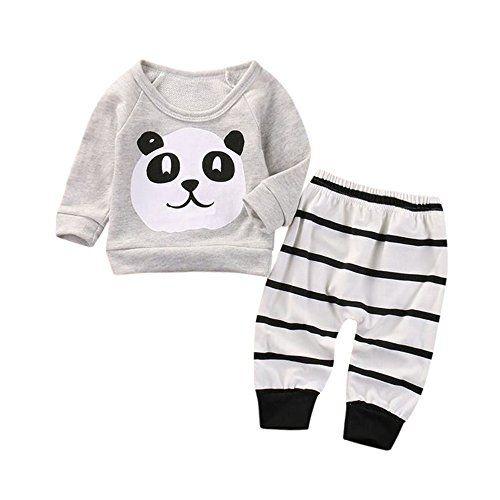3fe37141c267f Sunenjoy 2 PCs Nouveau-né Bébé Filles Garçons Panda Longf Manchon Tops T- shirt Bande Pantalon Tenues Ensemble Vêtements (gris 0-6 mois)