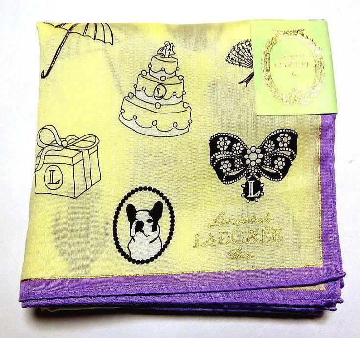Laduree Handkerchief hanky scarf bandana Yellow Eiffel Tower Cotton Auth New #Laduree #DesignerArtist