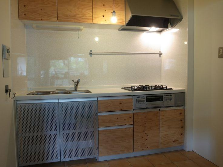 キッチン扉交換2 構造用合板 Diyで Kanayon Mさんのキッチンのシステムキッチン 2 2 イエナカ手帖 システムキッチン 構造用合板 キッチン カッティングシート