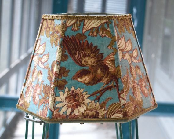 Best 25 french vintage images on pinterest french vintage lamp bird lamp shade french lampshade 9x14x9 hex by lampshadelady aloadofball