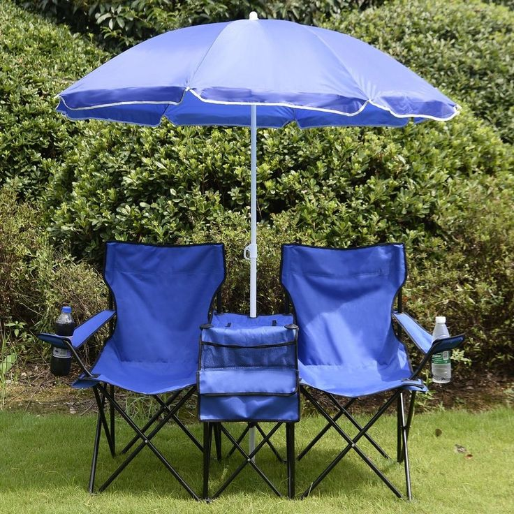 Camping Folding Chair & Umbrella Outdoor Picnic Armchair Beach Fishing Hunting #Unbranded