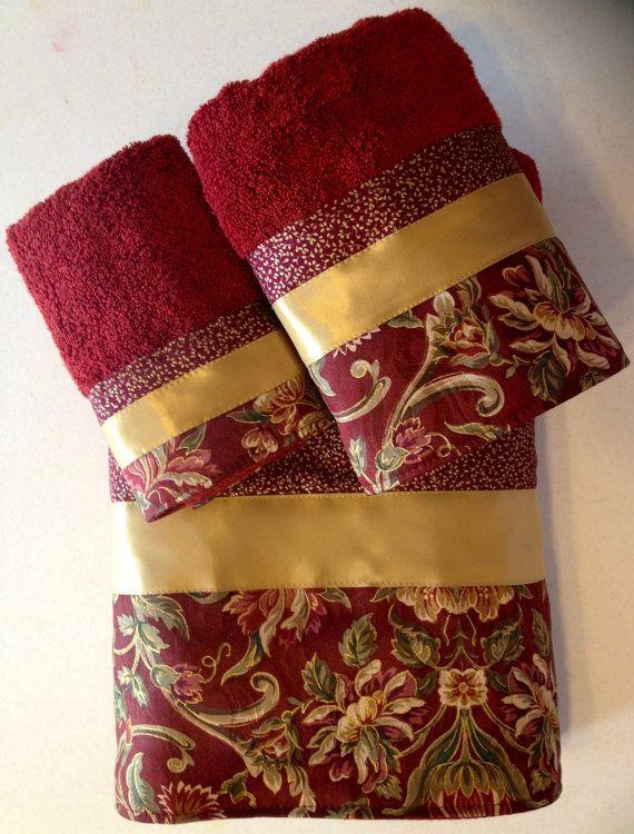 Garnet and Gold Floral Bath Towel Set by www.ladydiblankets.etsy.com, $59.99