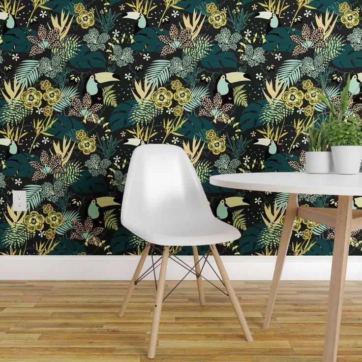 Animal Print Wallpaper - Jungle Yellow by kimsa - Tropical ...