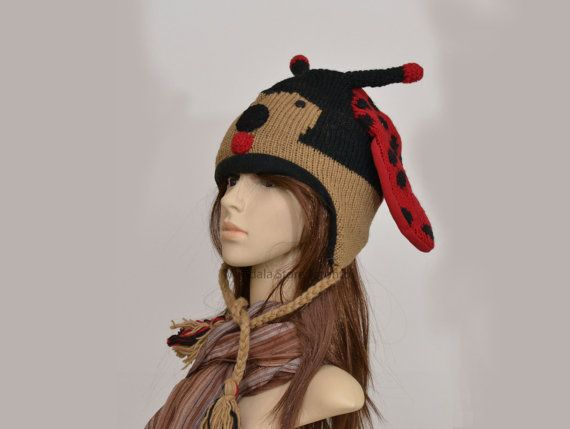 Red Ladybug animal hat   warm hat  knit hat  by HatsMittensEtc
