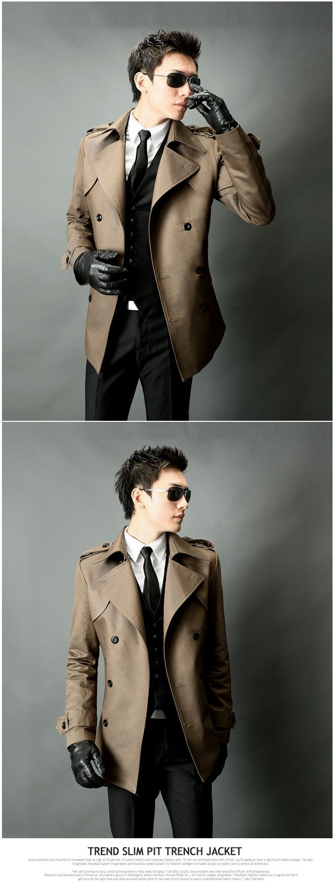 Herren Trenchcoat | Herren Casual harf Trenchcoat Kakao slim fit sale-gunmanforyou.com
