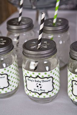 Soccer Baby Shower Water Bottle Labels - Soccer Birthday Party Decorations in Green & Black (12)