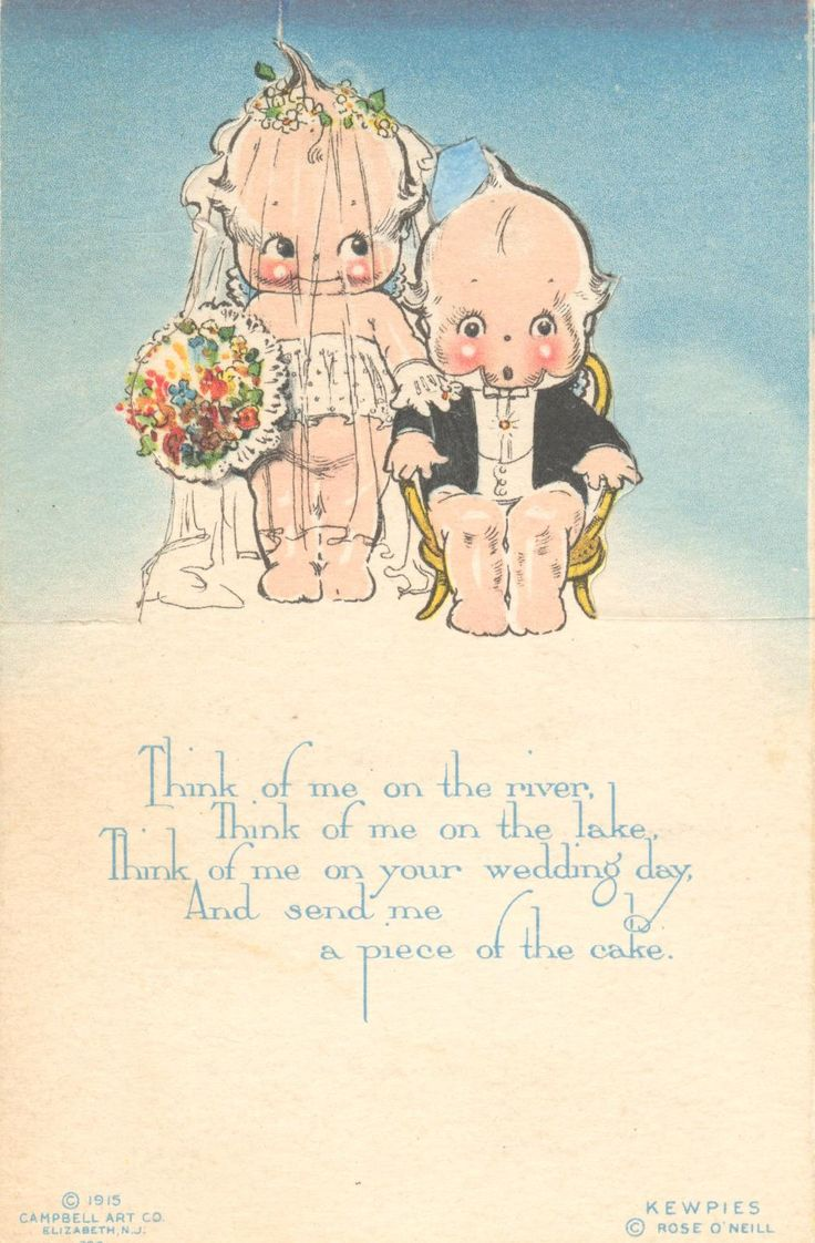 vintage wedding postcard featuring Rose O'Neill's illustration characters kewpies.